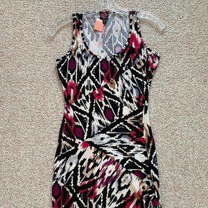 2B BEBE Black Red White Multicolor Mini Dress